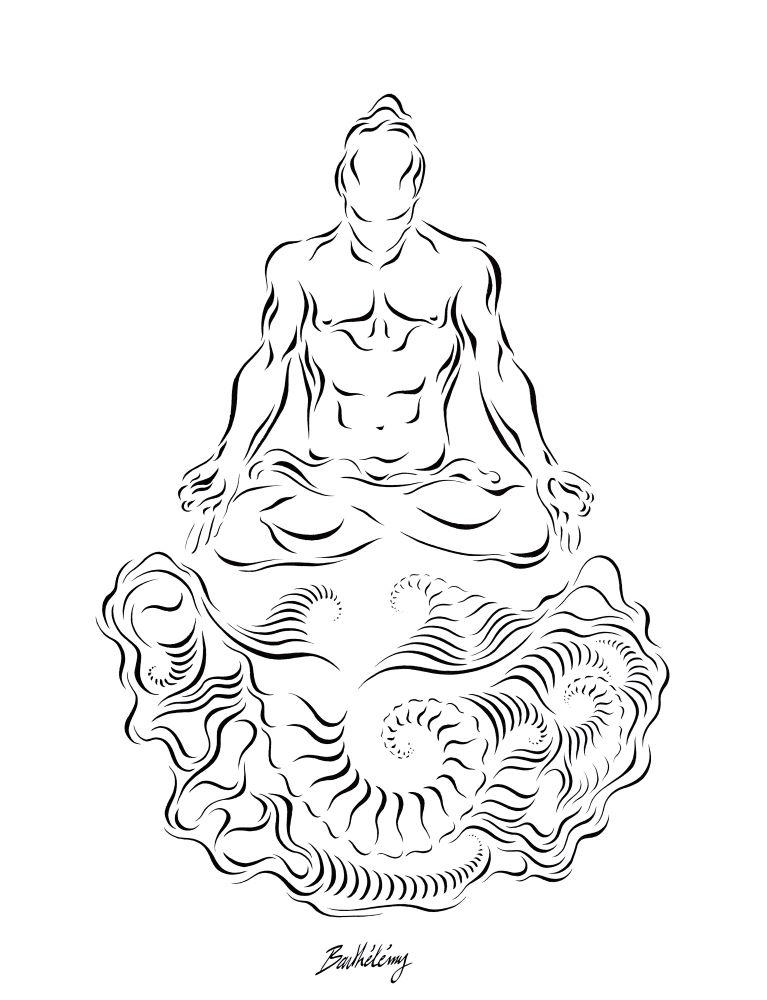 Barthélémy - Méditation - Encre sur papier - 50x65cm